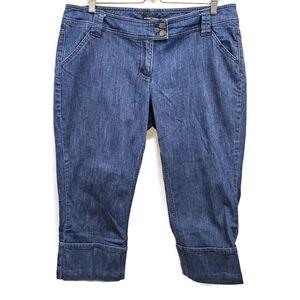 New York & Co Denim Cuffed Capri Pants 16